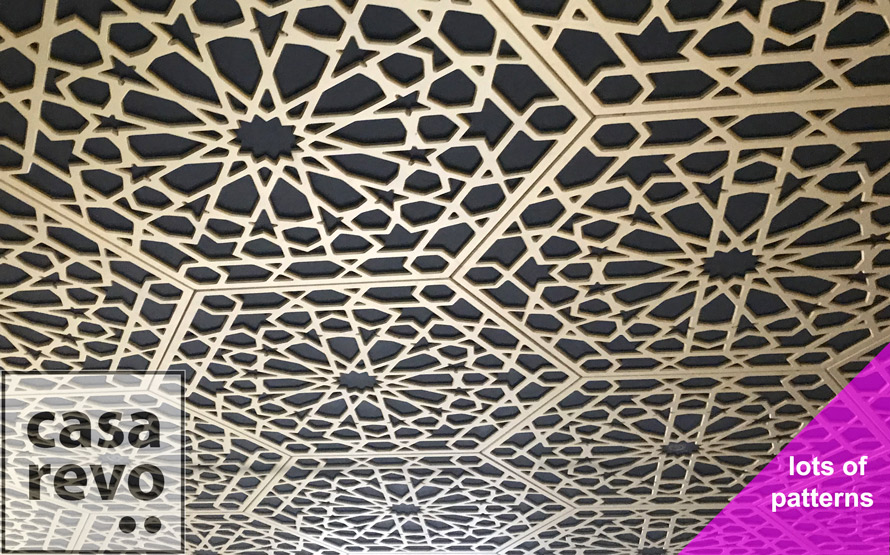 Ceiling panels in moroccan style MDF painted Gold
