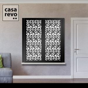 Art Deco Swirls Black Window Shutter Face Fixed