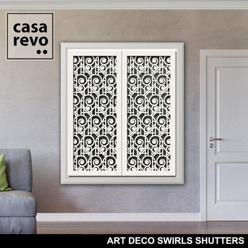 ART DECO SWIRLS White Window Shutters by CASAREVO