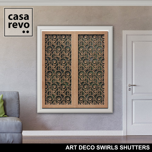 ART DECO SWIRLS MDF Window Shutters by CASAREVO