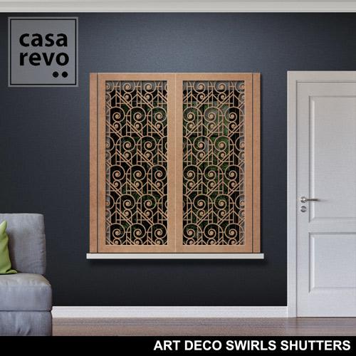 Art Deco Swirls window shutter face fixing