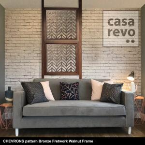 CASAREVO room divider CHEVRONS pattern titanium