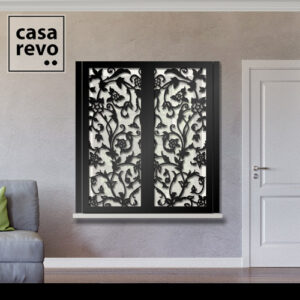 Stem Floral Black Window Shutters Face Fixed