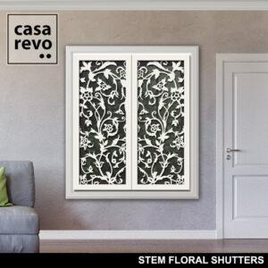 STEM FLORAL WHITE WINDOW SHUTTERS