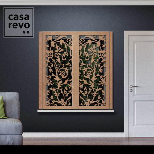Stem Floral MDF Window Shutters Face Fixed