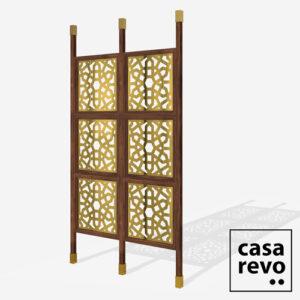 CHENNAI Gold Walnut frame 6 panel room partition