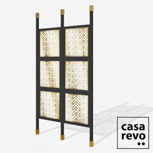 CHEVRON Gold Black frame 6 panel glazed room partition