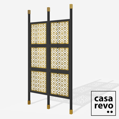 CHEVRON Gold Black frame 6 panel room partition