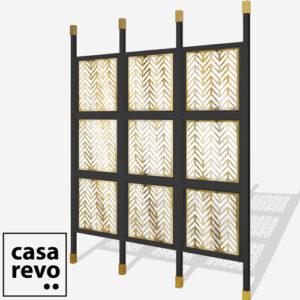 CHEVRONS Gold Black frame 9 panel glazed room partition