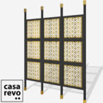 CHEVRONS Gold Black frame 9 panel room partition