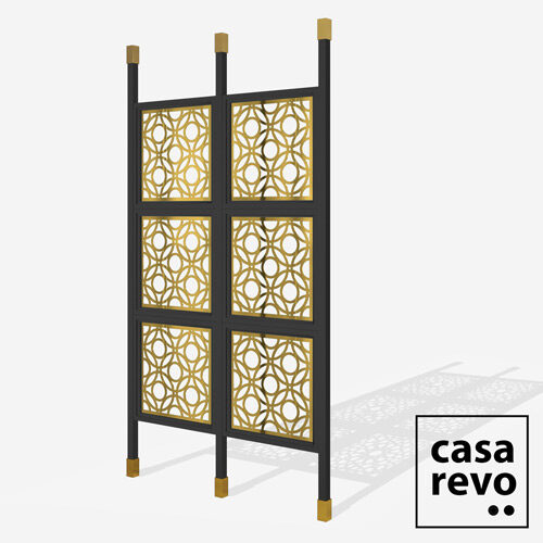 DWELL Gold Black frame 6 panel room partition
