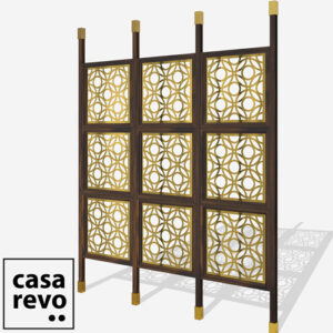 DWELL Gold Walnut frame 9 panel room partition