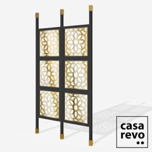 JUNO ARABIC Gold Black frame 6 panel glazed room partition