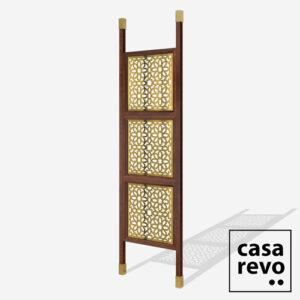 JUNO ARABIC Gold Sapele Frame 3 panel room partition