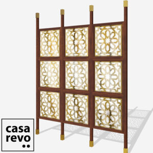 JUNO ARABIC Gold sapele frame 9 panel glazed room partition