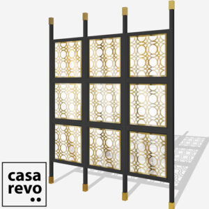 MAINE Gold Black frame 9 panel glazed room partition