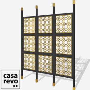 MAINE Gold Black frame 9 panel black room partition