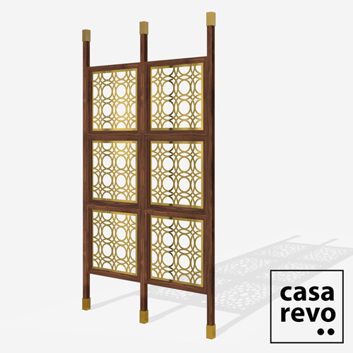 MAINE Gold Walnut frame 6 panel room partition