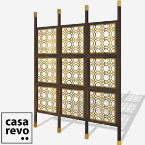 MAINE Gold walnut frame 9 panel room partition
