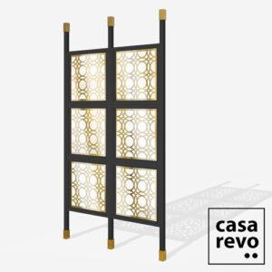 MAINE Gold Black frame 6 panel glazed room partition