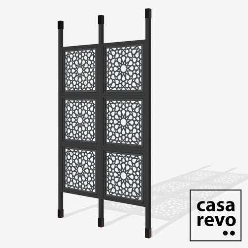 SPARK ARABIC Titanium Grey Black Stain 6 panel glazed room divider