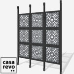 SPARK ARABIC Titanium Grey Black Stain 9 panel room partitions