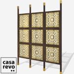 SPARK ARABIC GOLD 9 panel walnut stain room divider