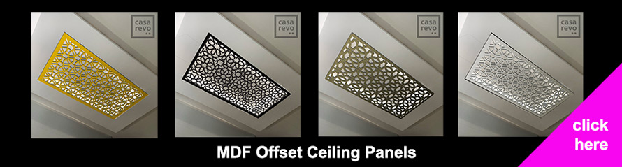 Ceiling screens and panel designs by CASAREVO